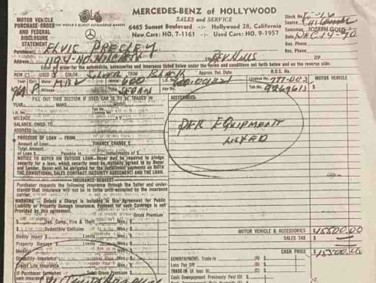 La Mercedes di Elvis in vendita