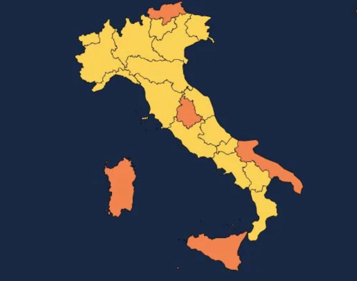 Umbria Cartina Italia.Cartina Regioni Aggiornata Italia Quasi Tutta Gialla Tranne 5 Regioni Arancioni