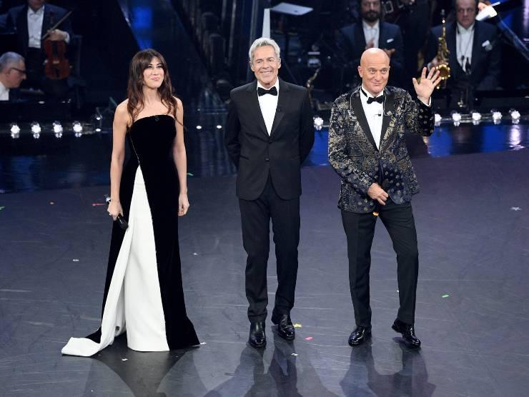 Virginia Raffaele, Claudio Baglioni e Claudio Bisio al Festival di Sanremo (Getty Images)