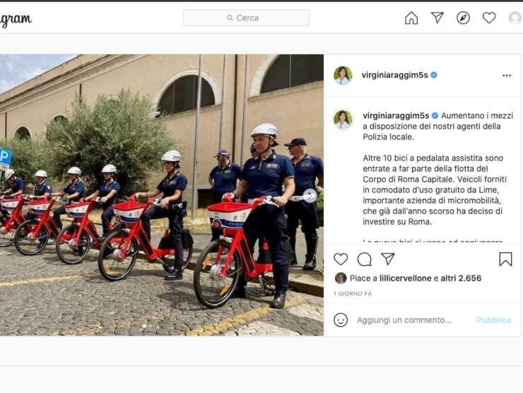 Post di Virginia Raggi (Instagram)