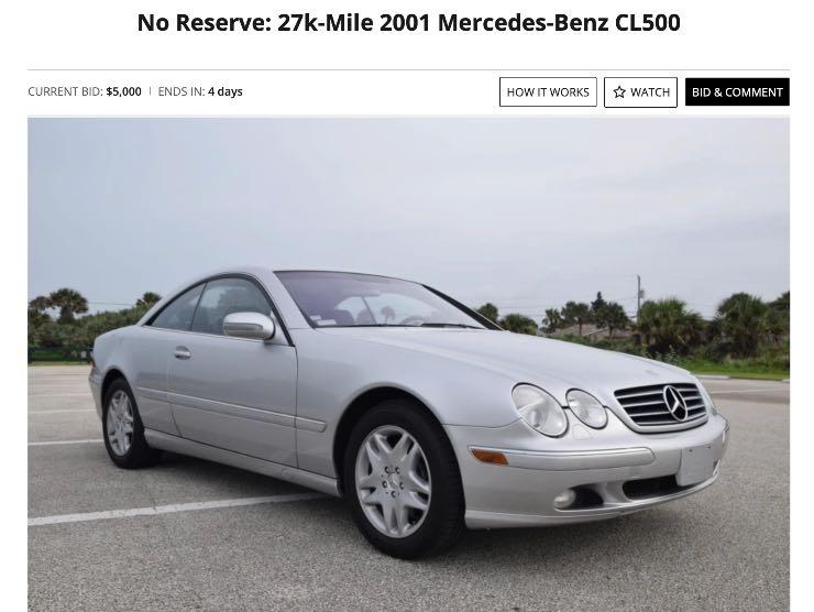 Mercedes CL500 in vendita su Bringatrailer