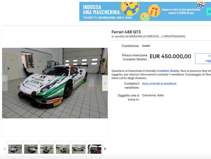 Schermata Ebay Ferrari 488 GT3 (Ebay)