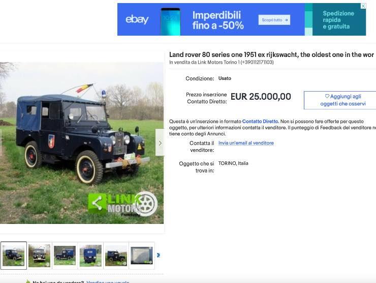 La vecchia Land Rover in vendita su eBay