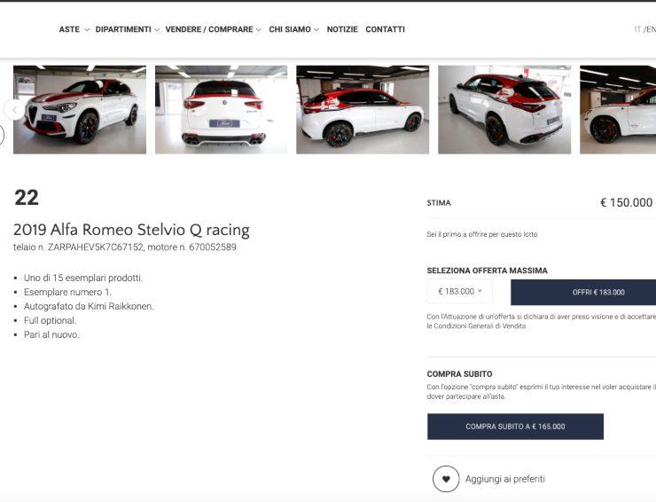 Schermata Finate.it della vendita dell'auto (Finarte.it)