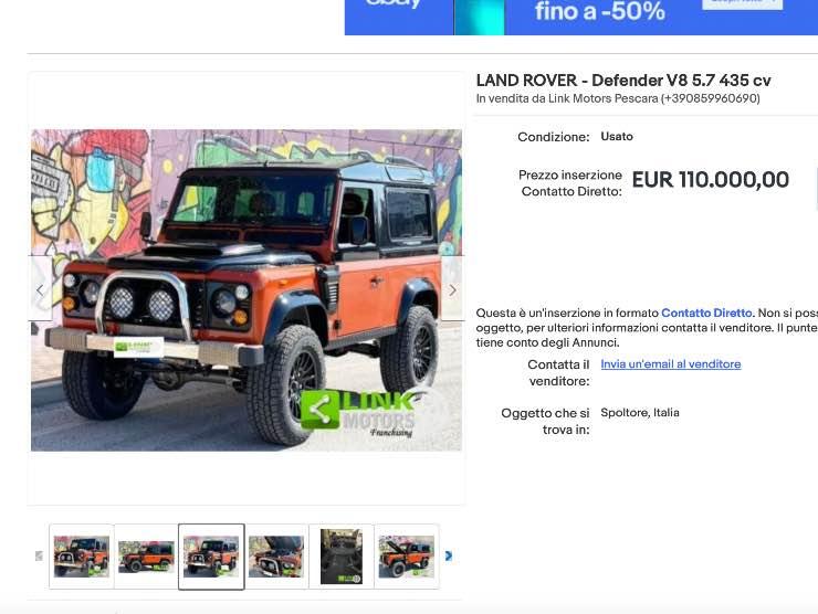Land Rover Defender in vendita su eBay