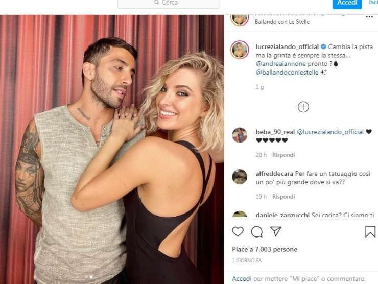 Il post Instagram di Lucrezia Lando