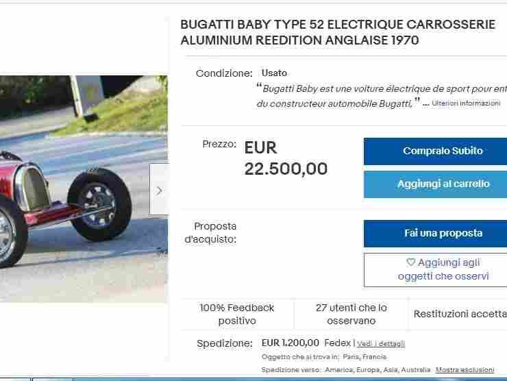 Bugatti Baby annuncio eBay