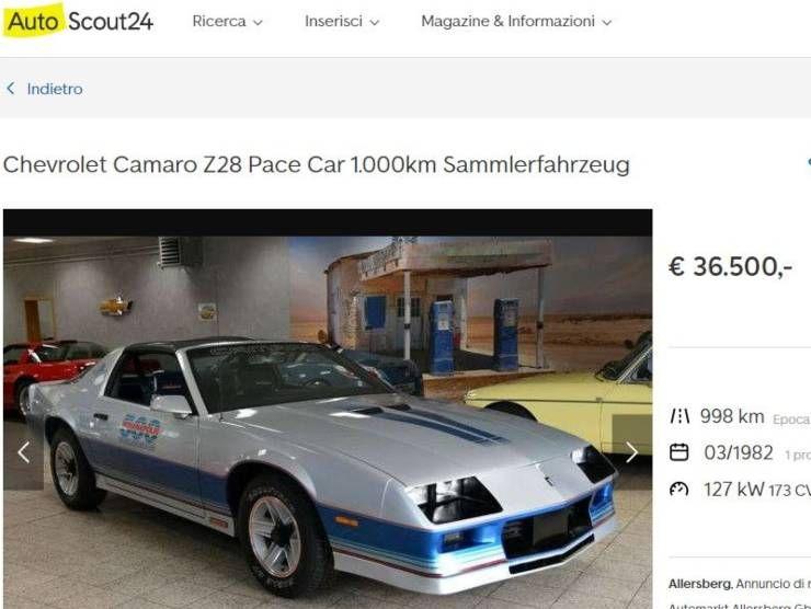 Chevrolet Camaro Z28 Pace (Autoscout) annuncio