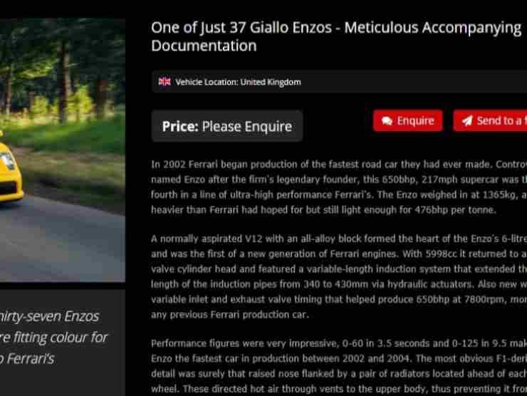 Ferrari Enzo annuncio
