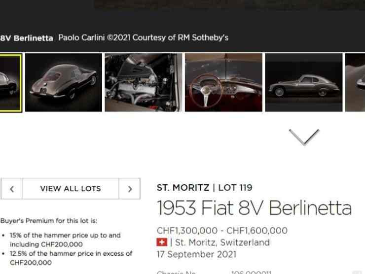 Fiat 8V Berlinetta annuncio