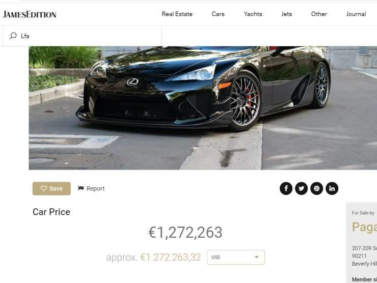 Lexus in vendita annuncio su James Edition
