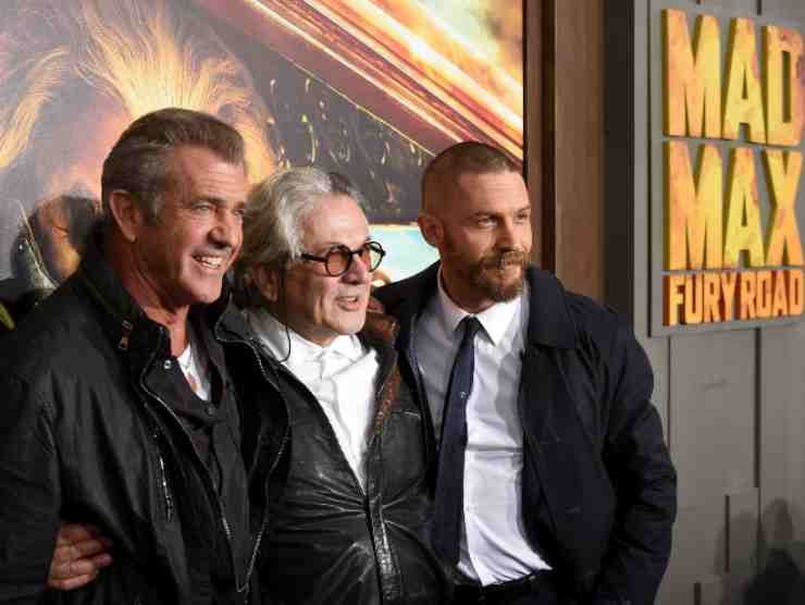 Mel Gibson, George Miller e Tom Hardy alla prima di Mad Max - Fury Road (Getty Images)