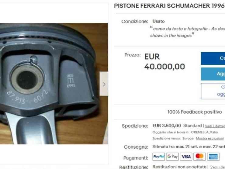 Il Pistone della Ferrari guidata da Schumacher (eBay)