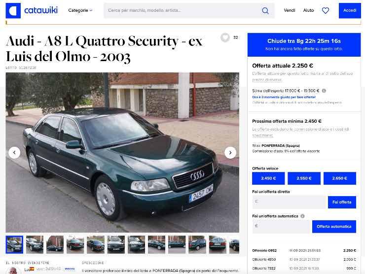 Screenshot annuncio Audi A8 in vendita