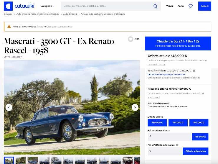 La Maserati di Renato Rascel all'asta