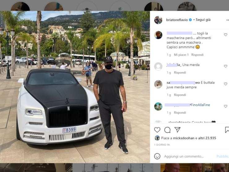 Il post su Instagram di Flavio Briatore con la Rolls juventina
