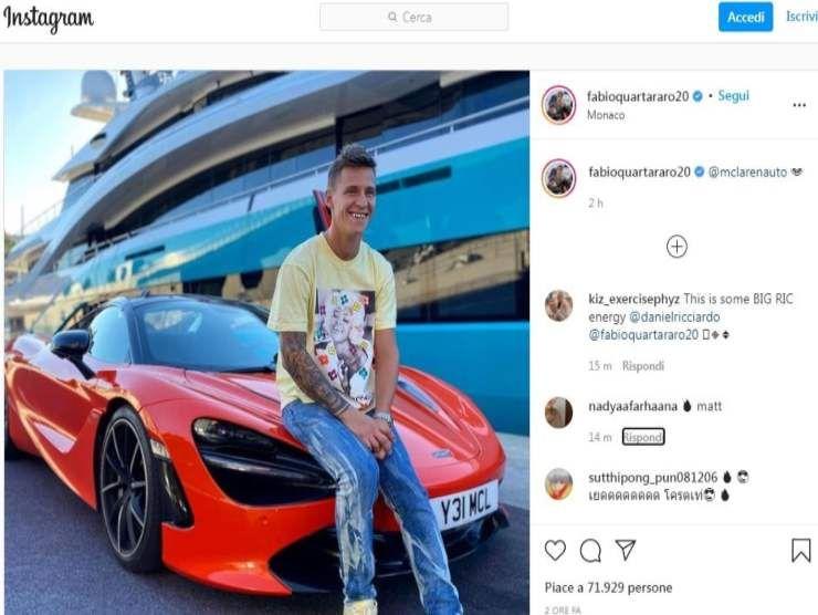 Fabio Quartararo e la Mclaren (Instagram)